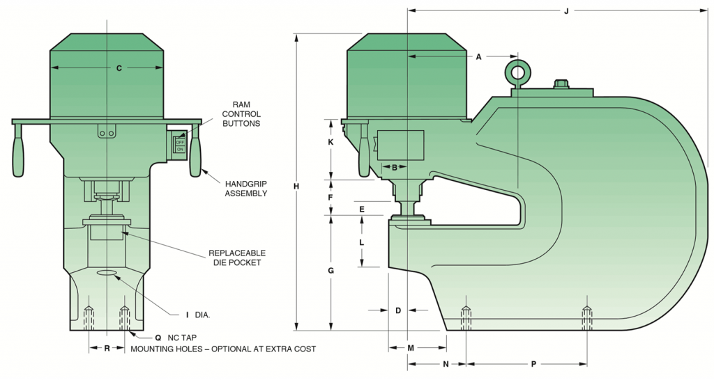 90-250 Ton Flange Press Dimensions